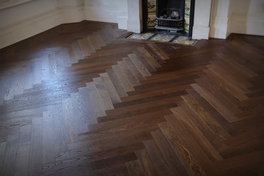Prime Engineered Flooring Oak Herringbone Dark Smoked Brushed UV Oiled 14/3mm By 97mm By 582mm