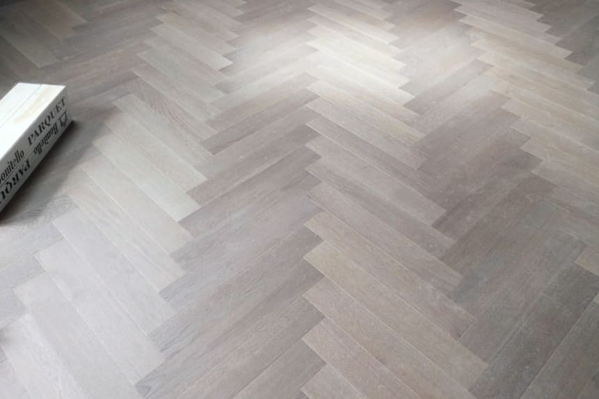 Prime Engineered Flooring Oak Herringbone White Grey Brushed UV Oiled 14/3mm By 98mm By 588mm