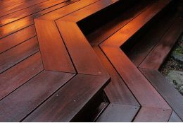 Red Balau Hardwood Decking Boards Using Hidden Fixing 21mm By 120mm By 3962-4572mm
