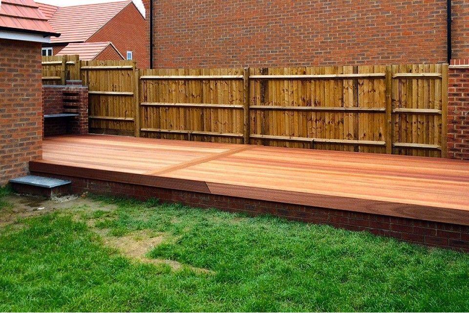 Red balau hardwood decking boards using hidden fixing 19mm for 4 metre decking boards