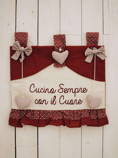 Copriforno rosso Cucina sempre con il cuore - Angelica home & country