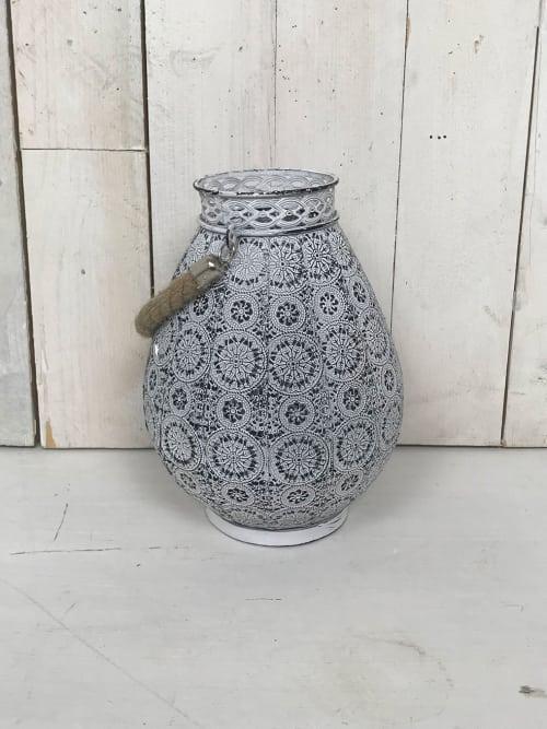 Lanterna Shabby in ferro con portacandela e corda - Ad Trend