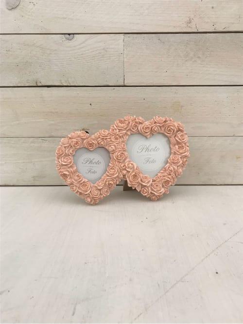 Portafoto cuori doppi con roselline rosa - Lorenzongift