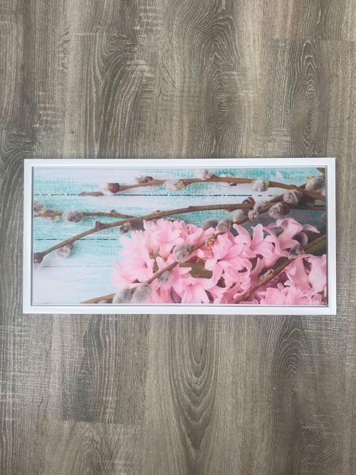 Quadro Shabby rettangolare con ramo e fiori di pesco - Ad Trend