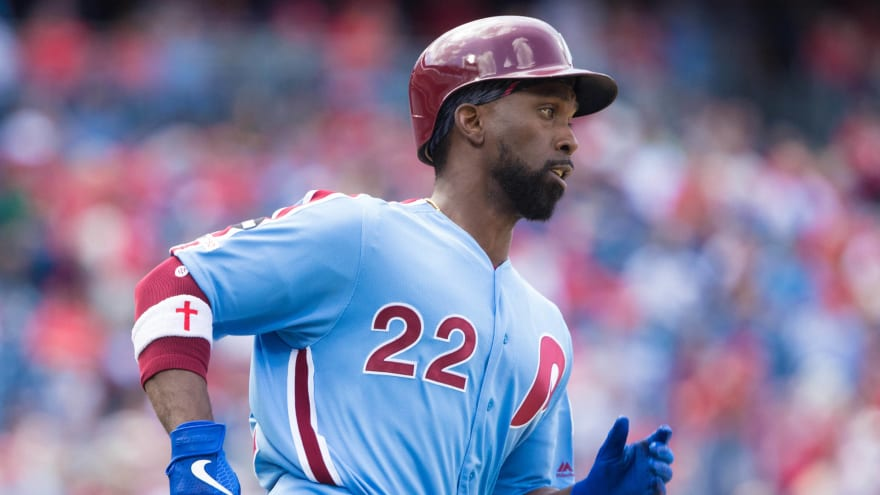 newest 73d4d cbaea Andrew McCutchen kills in Phillies' throwback jersey ...