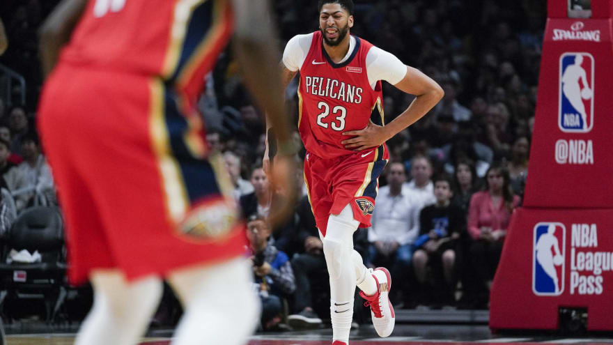 820c1dc496cb ... Anthony Davis (23) reacts after being injured during the second quarter  against the Los Angeles Clippers at Staples Center. Kelvin Kuo-USA TODAY  Sports