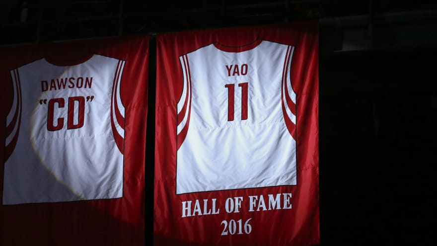 size 40 9d03b 57611 James Harden leaps into Yao Ming's arms at jersey retirement ...