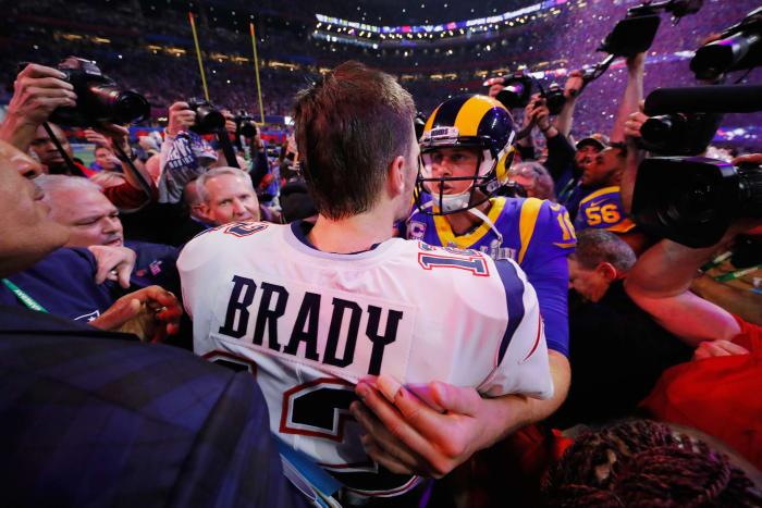 Super Bowl LIII: Tom Brady, New England Patriots, and Jared Goff, Los Angeles Rams