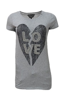 Love Print Grey Tee online in Zhakaash