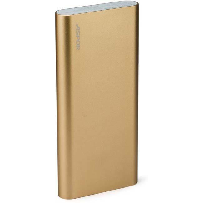 Aspor A351 With 2 USB Outputs Real Capacity 10000 mAh Power Bank  (Golden, Lithium Polymer)
