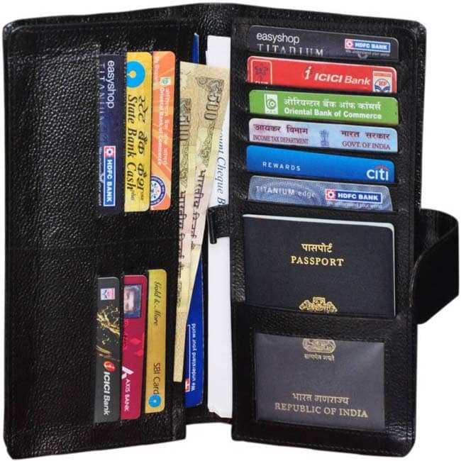 Gleam 100% Genuine Leather Travel Passport Case / Debit & Credit Card /Cheque Book Holder / Document Wallet /Money Wallet Purse  (Black)