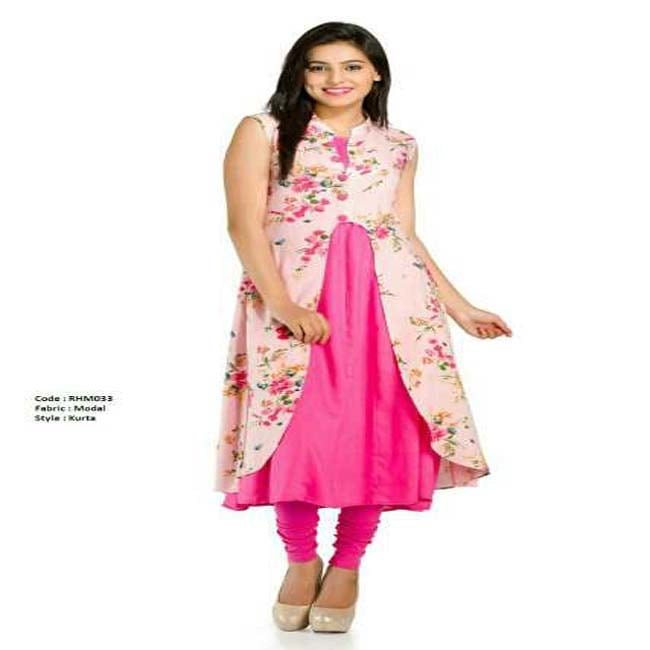 Double layer kurti with women's printed jacket  (Pink)